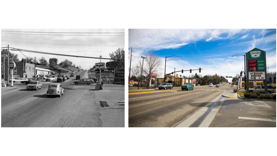 Intersection of Overland and Orchard heading south in Boise. (Kristen McPeek and Idaho State Archives)