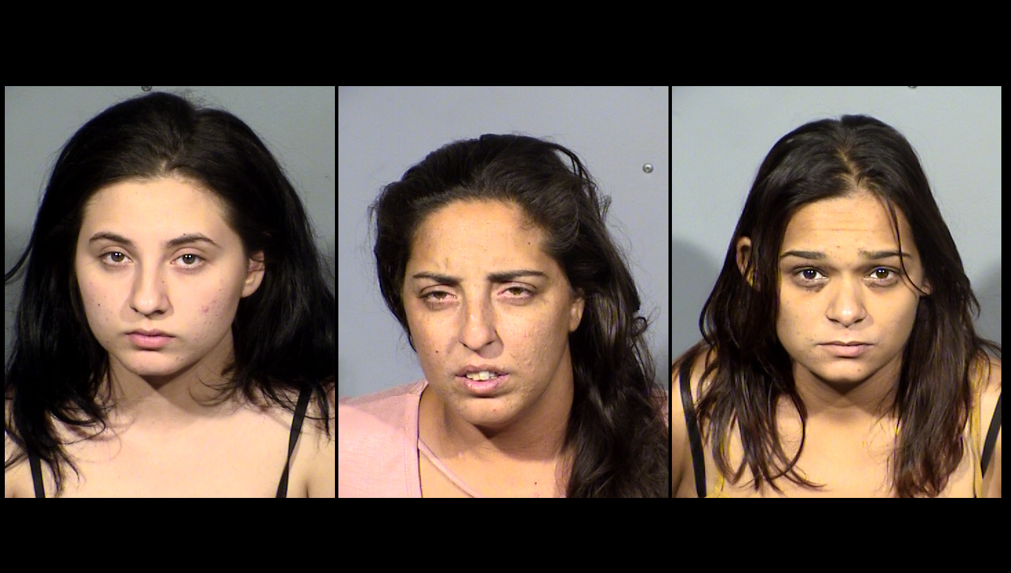 (From left) Amanda Miller, Barbara Miller, and Sophia Nicholas arrested for staged car accidents; police say more victims possible (LVMPD/KSNV)