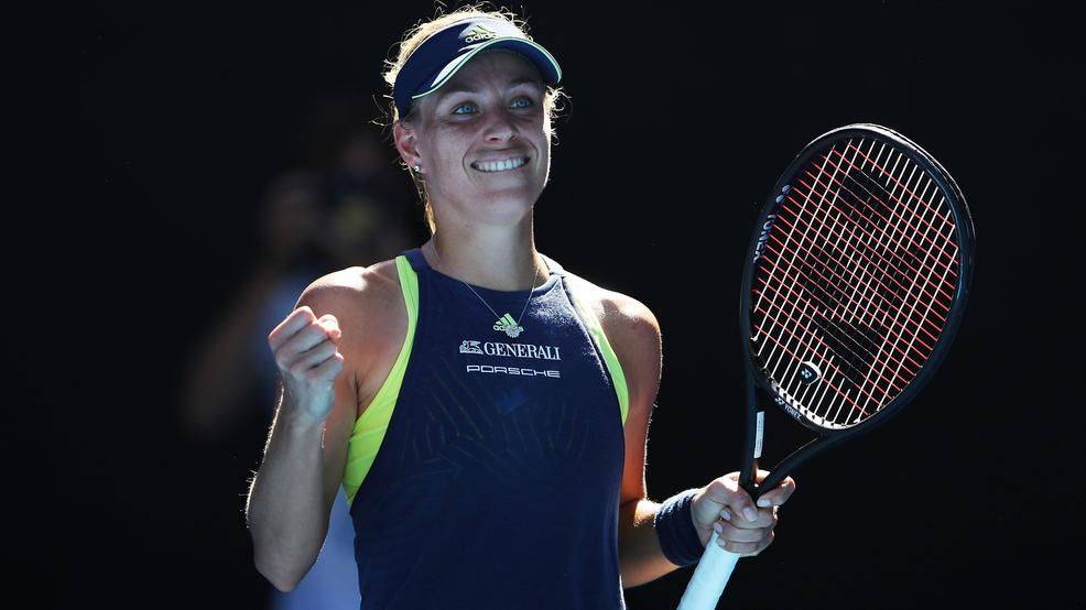 MELBOURNE, AUSTRALIA - JANUARY 18: Angelique Kerber of Germany celebrates winning a point in her second round match against Donna Vekic of Croatia on day four of the 2018 Australian Open at Melbourne Park on January 18, 2018 in Melbourne, Australia. (Photo by Mark Kolbe/Getty Images)
