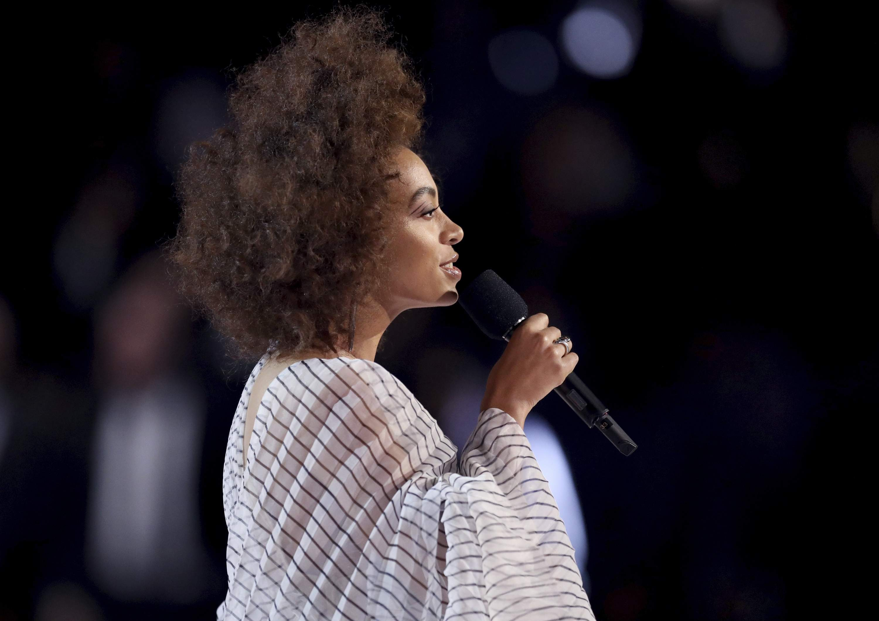 Solange introduces a performance at the 59th annual Grammy Awards on Sunday, Feb. 12, 2017, in Los Angeles. THE ASSOCIATED PRESS