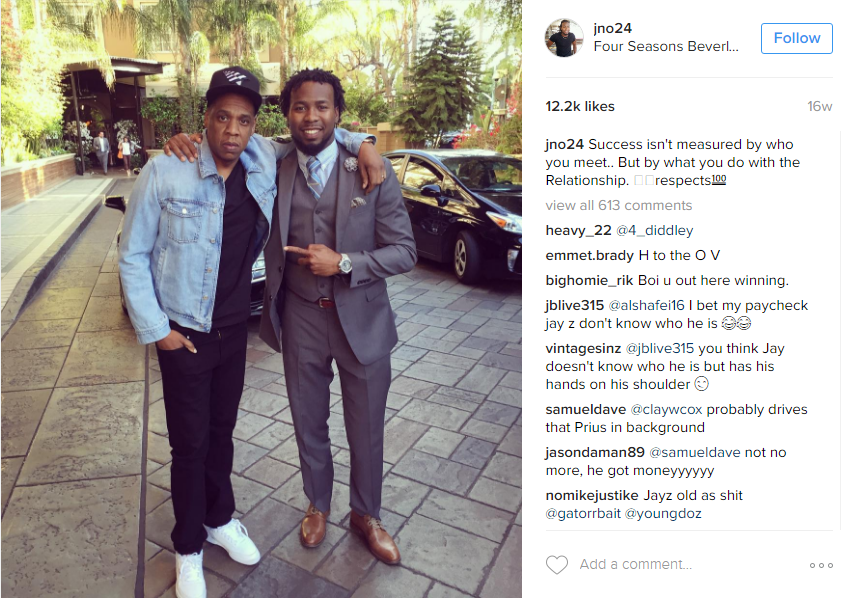 Wait we take it back, Josh Norman hanging with Jay Z... no biggie #famousfriends (Image: @jno24 Instagram)