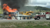 WATCH: Crane truck burst into flames on I-80 in Summit County
