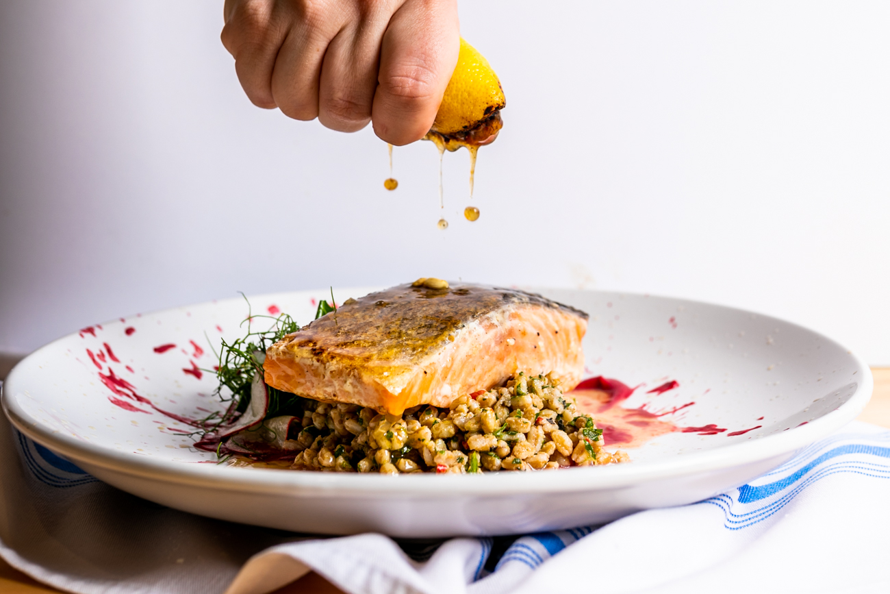Seared Salmon: Salmon served with farro tabbouleh and beet romesco / Image: Amy Elisabeth Spasoff // Published: 8.20.18