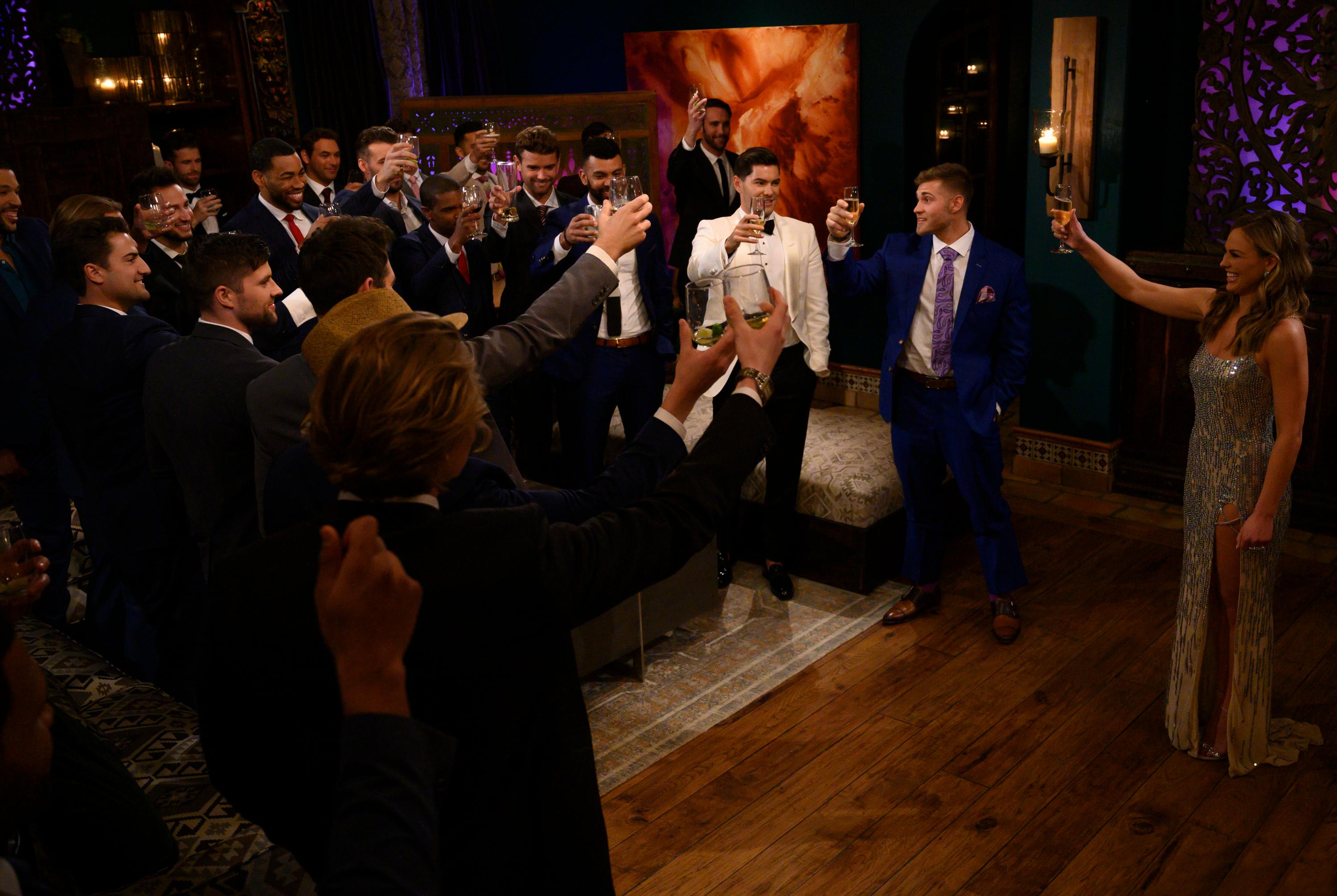 By the end of the night, only 22 lucky bachelors will remain to toast the Bachelorette, with hearts overflowing and romantic adventures yet to come.(Image:{ }John Fleenor/ ABC)