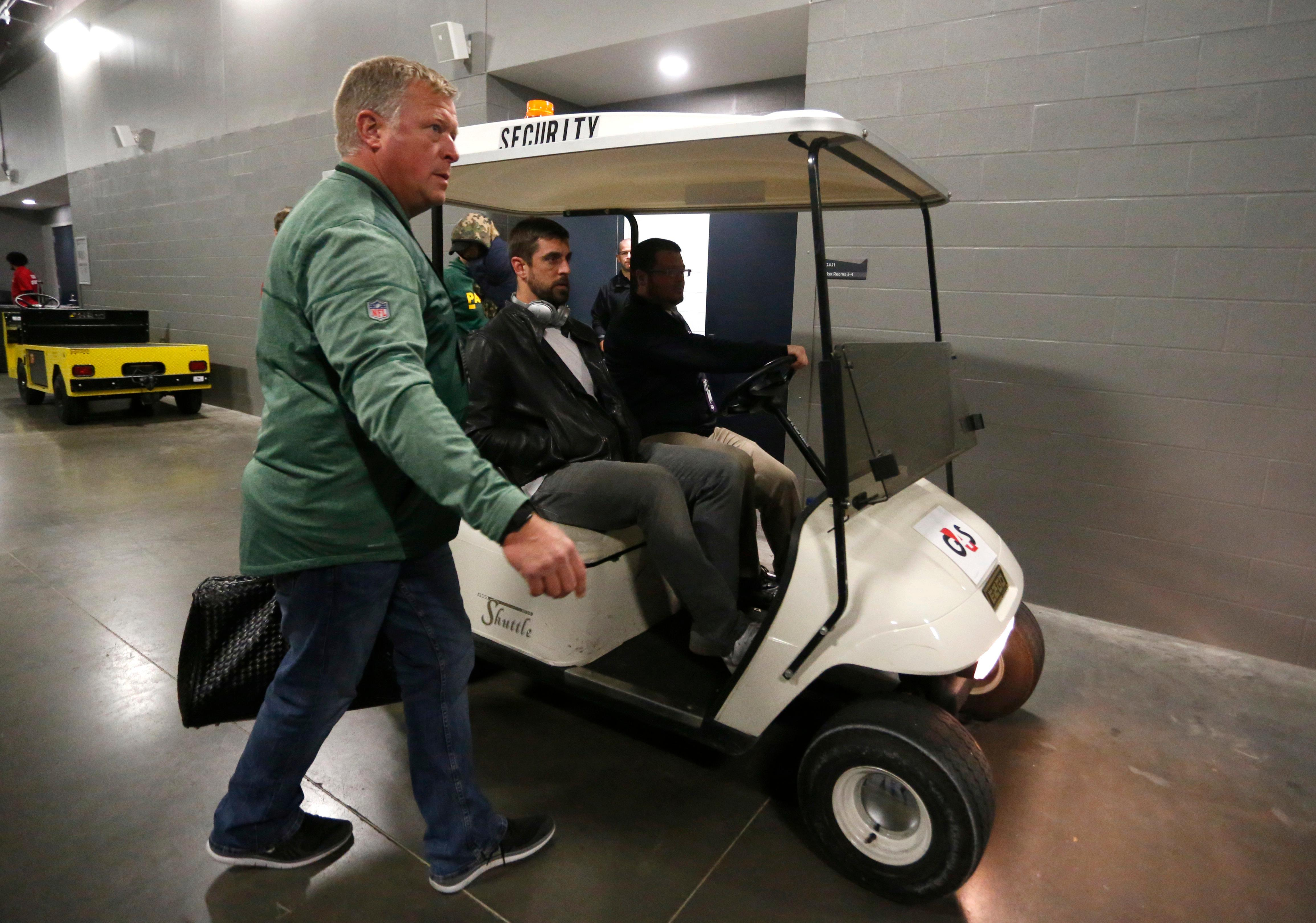 Green Bay Packers quarterback Aaron Rodgers leaves the locker room after a game against the Minnesota Vikings in Minneapolis, Sunday, Oct. 15, 2017. Rodgers broke his collarbone in the first half. (AP Photo/Bruce Kluckhohn)