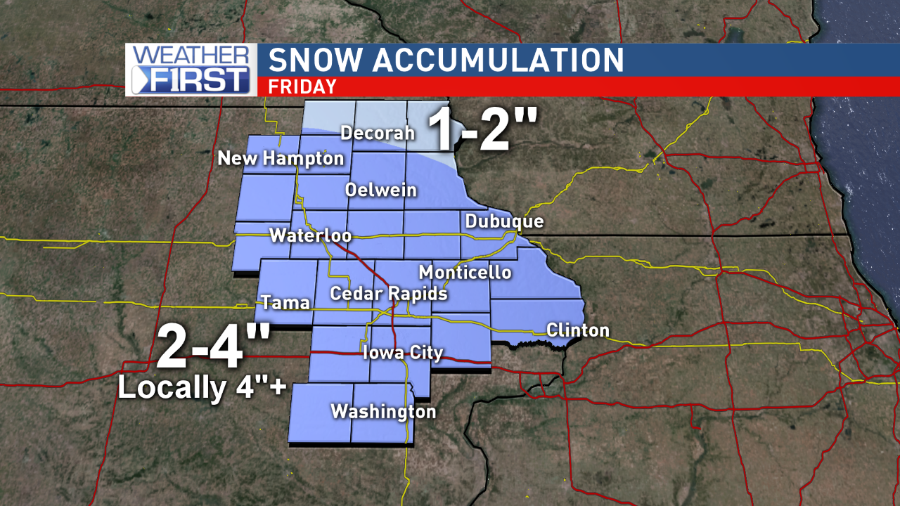 Projected snowfall accumulations for Friday{&amp;nbsp;}<p></p>