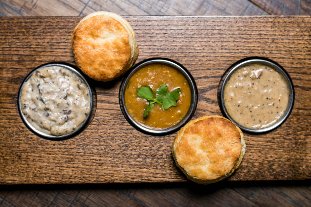 <p>Gold Shoes: Two biscuits and a flight of gravies (shown with Sawmill, Mushroom, and Serrano){&amp;nbsp;}/ Image: Amy Elisabeth Spasoff // Published: 4.2.18<br></p>