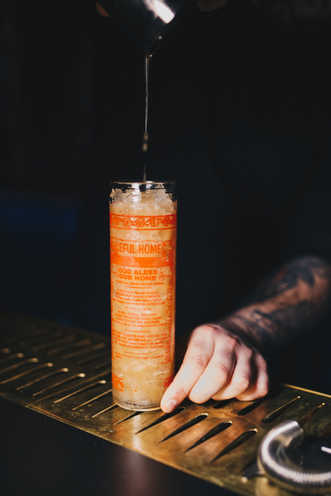 The Banana Candle: black strap rum, navy proof gin, banana, orgeat, falernum, and Peychaud's Bitters / Image: Catherine Viox // Published: 1.25.19