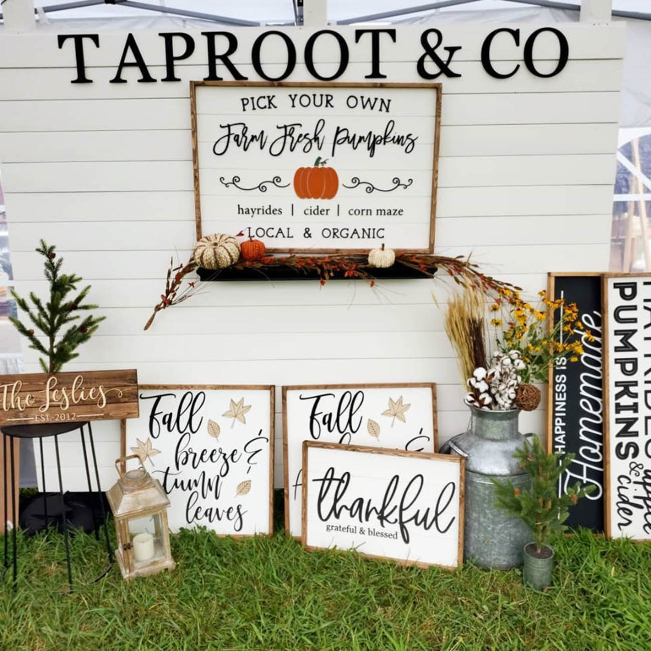 Jessica & Paul Marsh are the married duo behind Taproot & Co. The Hebron family business makes handcrafted wooden signs and free-standing cutouts, most of which are customized. Jessica is the designer of the pair and Paul handles the woodworking, framing, and painting of the operation. / Image courtesy of Taproot & Co. // Published: 2.5.20