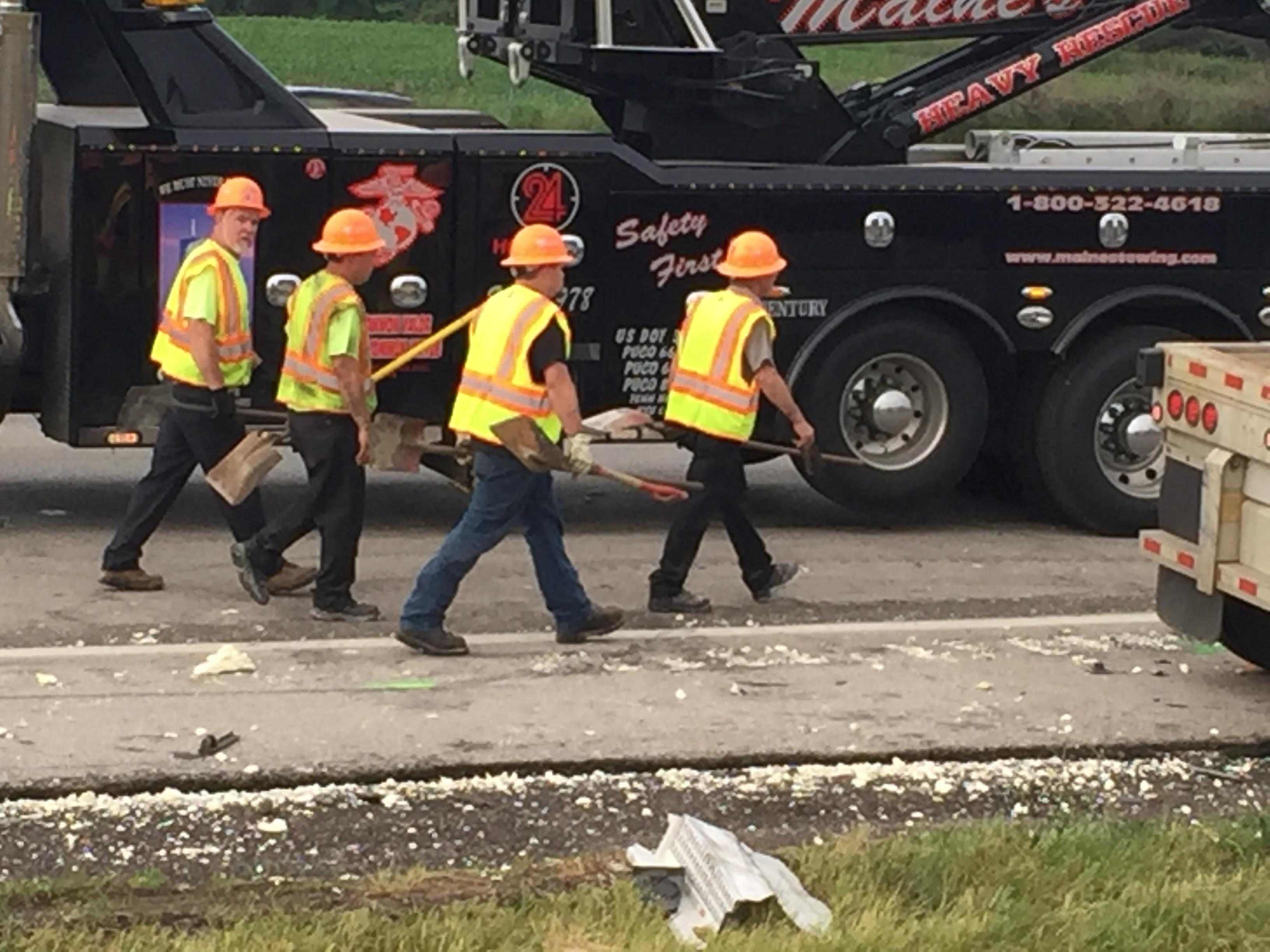 According to the Ohio State Highway Patrol, the right lanes of I-70 WB at SR-56 were expected to remain closed for hours due to extensive cleanup efforts. (WSYX/WTTE)