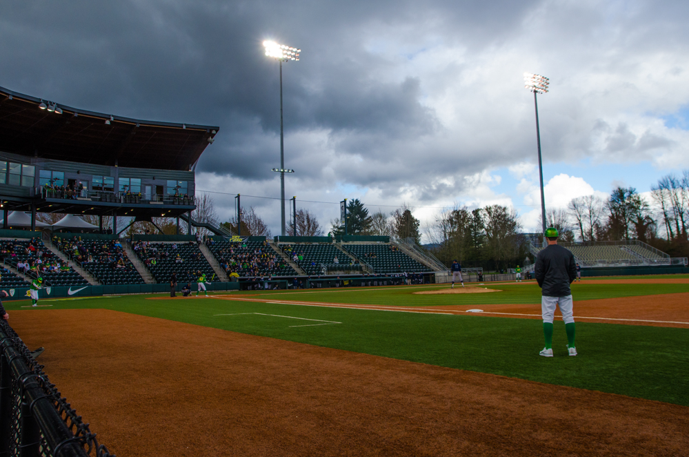 The Ducks continued to play through hail, rain, and occasionally glimpses of sun. In the second of the three game series, the Ducks beat the UC Irvine Anteaters 6-3. Photo by Levi Gittleman, Oregon News Lab