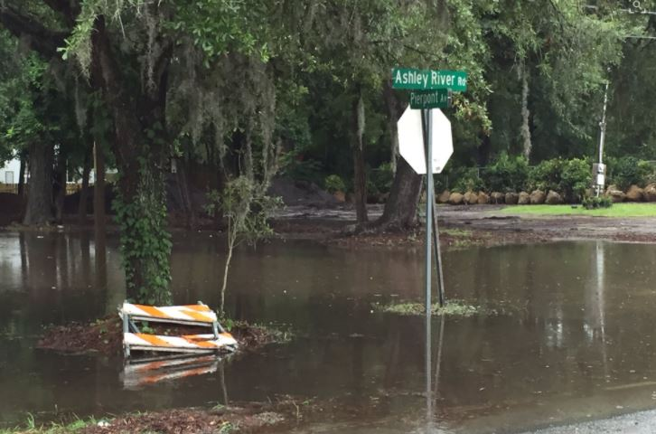 Pierpont Ave at Ashley River Road was under water at around 9 a.m. Thursday. (Bill Burr / WCIV)