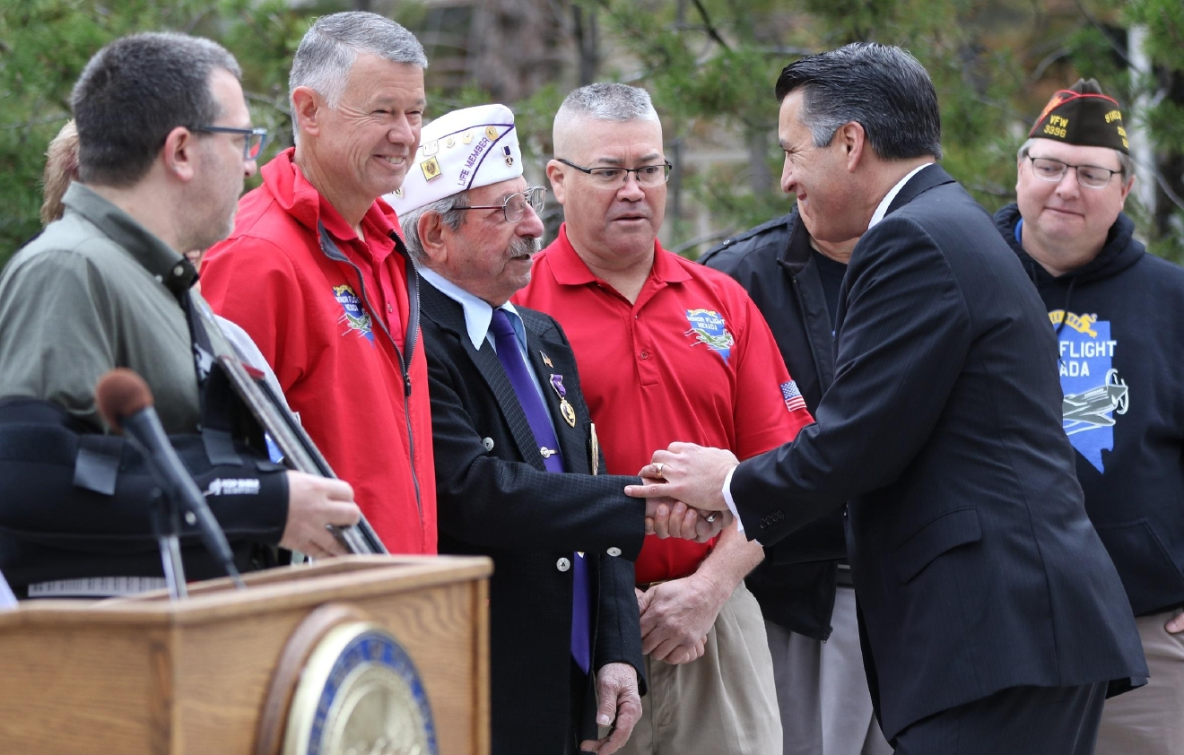 Governor Sandoval presents Veteran Supporter of the Month Award to Honor Flight Nevada
