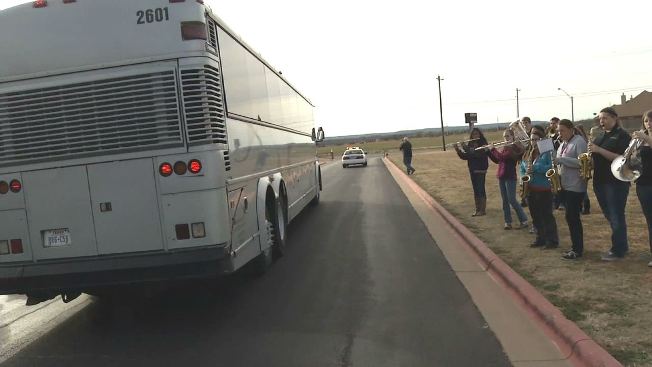 A charter bus carrying Wylie's basketball team left amid cheers Wednesday as the squad headed to Austin for the state basketball tournament.No. 5-ranked Wylie is joining No. 1 Houston Yates, No. 2 Dallas Madison and Brookshire Royal in the Final Four for Class 3A. The Bulldogs (34-4) play Dallas Madison at 1:30 p.m. Thursday.Photo by Joe Fry/KTXS