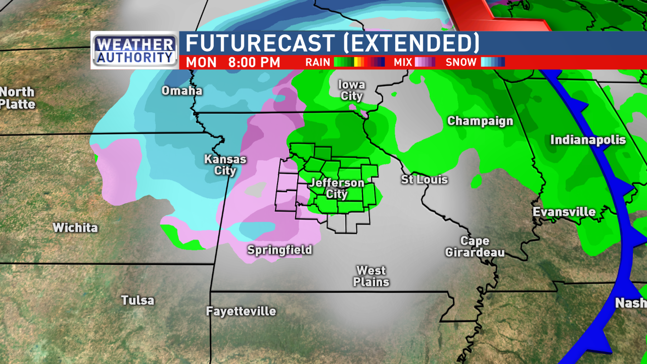 Mid-Missouri could experience a light rain/snow mix Monday evening as precipitation wraps around the cyclone.{&amp;nbsp;}<p></p>