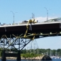 Boom truck tips on Sakonnet River Bridge; Bridge closed