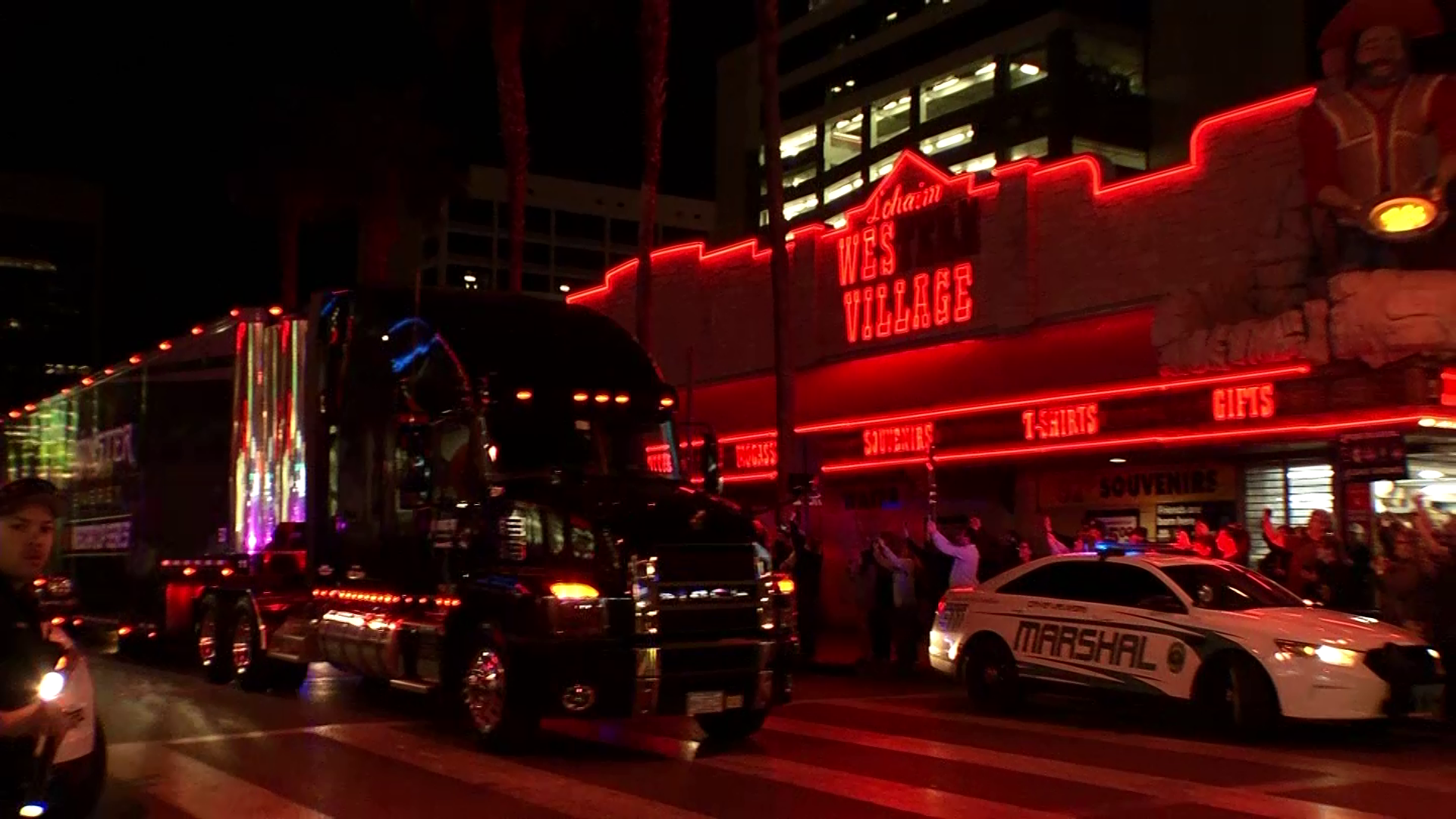 NASCAR haulers parade up Fourth Street past the Fremont Street Experience as the Ultimate Vegas Sports Weekend gets underway Thursday, February 28, 2019. (Sam Morris/Las Vegas News Bureau)