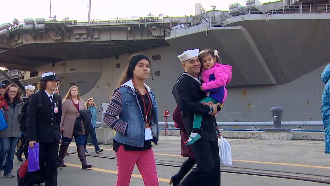 The aircraft carrier USS Nimitz arrived home Sunday to Naval Base Kitsap after a six-month deployment overseas. (Photo: KOMO News)