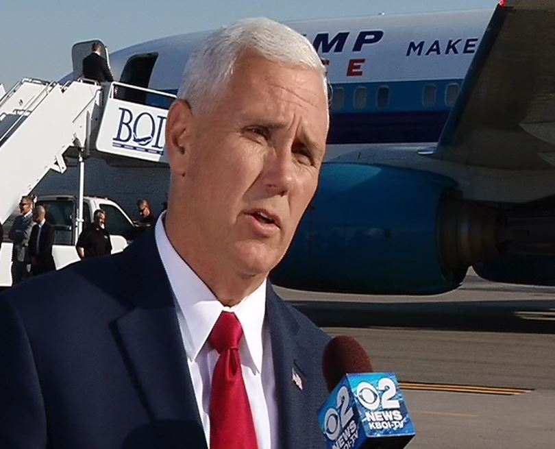 Gov. Mike Pence stops in Boise on the campaign trail as VP nominee under Donald Trump. (KBOI photo)