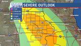 Severe storms with heavy rain possible through tonight