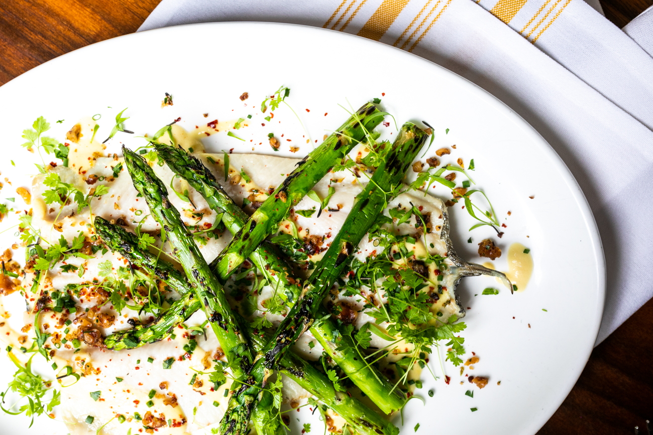 Rainbow Trout: grilled asparagus, onion soubise, and walnut gremolata / Image: Amy Elisabeth Spasoff // Published:{ }5.3.19