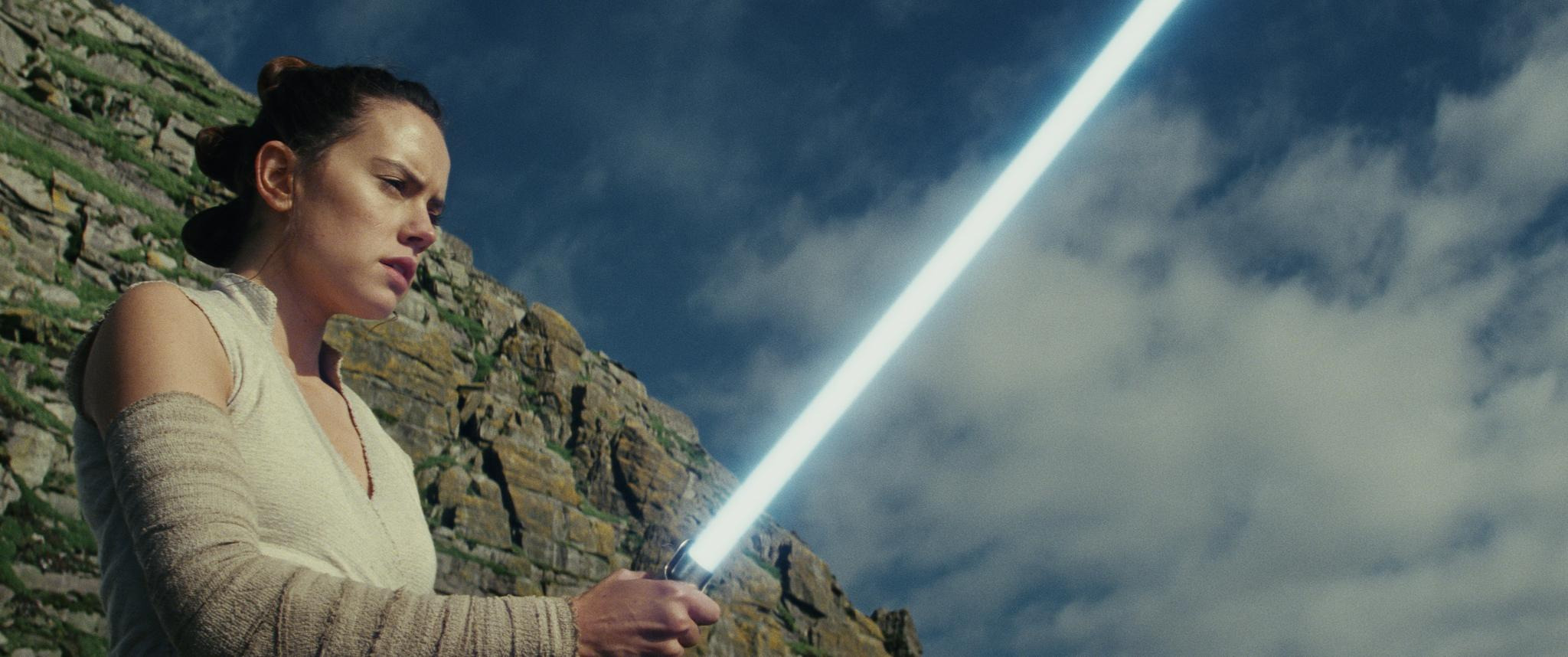 "This image released by Lucasfilm shows Daisy Ridley as Rey in ""Star Wars: The Last Jedi."" ""Star Wars: The Last Jedi"" is off to a death star-sized start at the box office. Disney says Friday, Dec. 15, 2017,  that eighth installment in the space franchise has earned an estimated $45 million from Thursday night showings. (Lucasfilm via AP)"