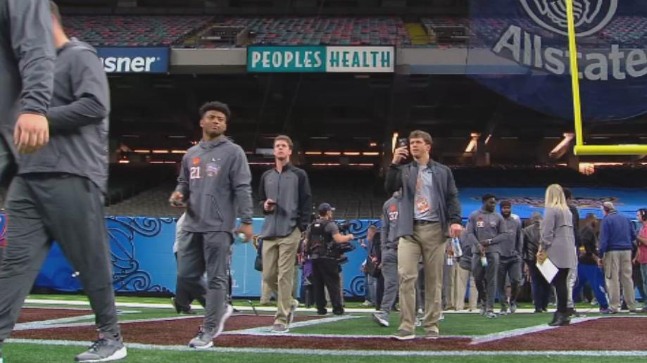 The Clemson Tigers enter the Superdome for Sugar Bowl Media Day (WBMA Staff).jpg