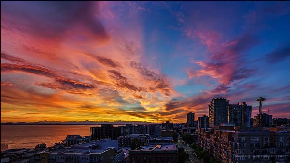 Photos Fiery Sunset Lights Up Western Washington Skies Komo