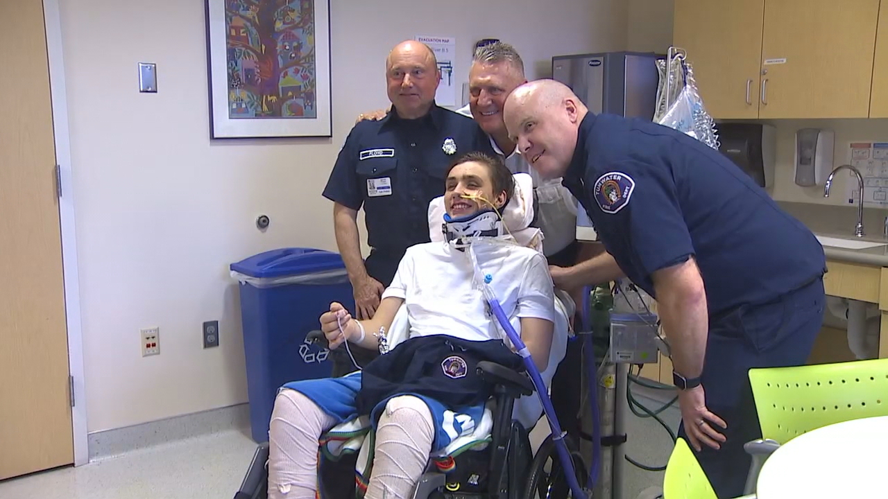 After more than a month in the hospital, Timmy Brodigan met the first responders on Tuesday, Jan. 23, 2018, who treated him after the Amtrak derailment in December. (Photo: KOMO News)