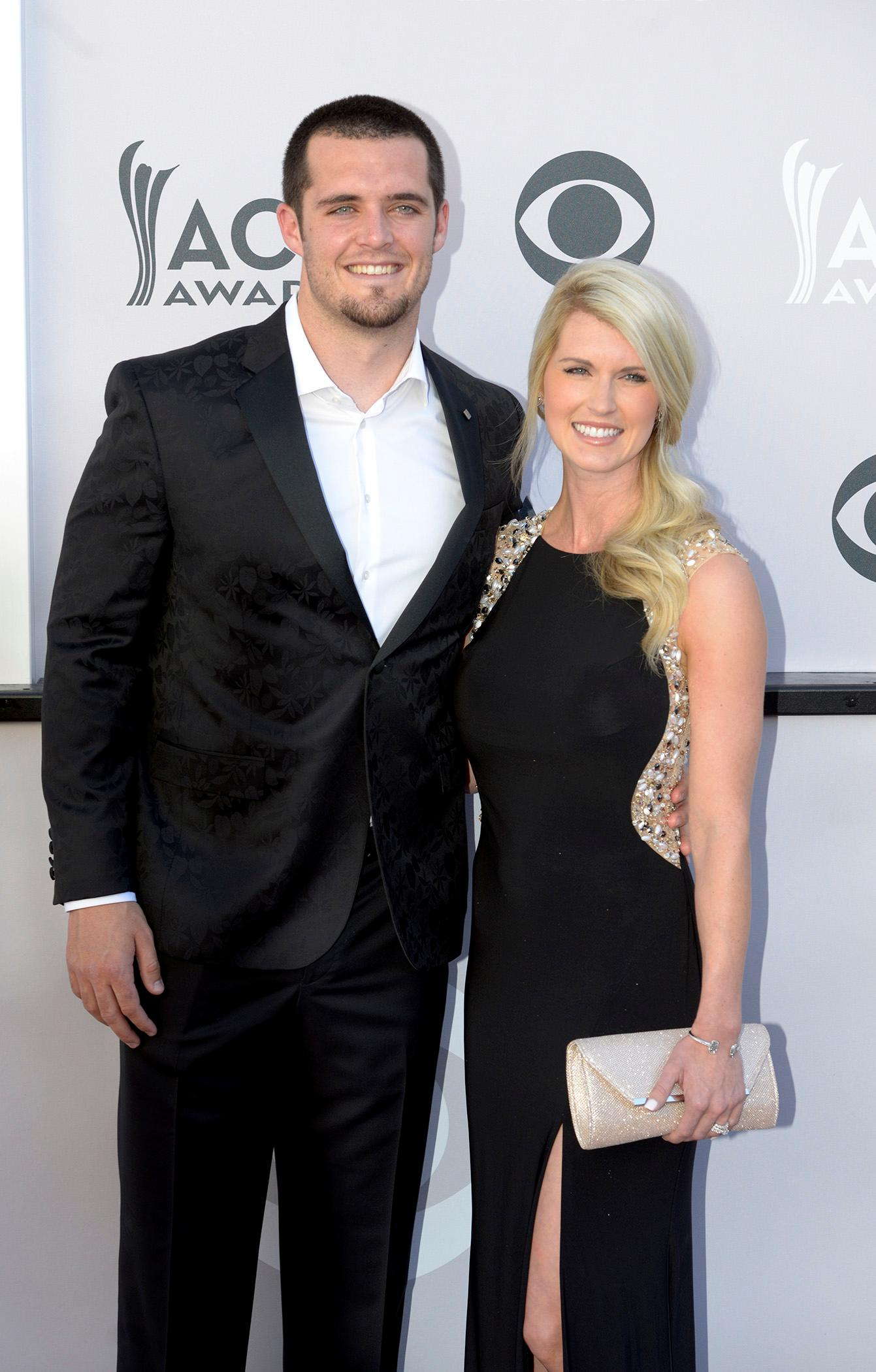 Derek Carr, quarterback for the Oakland Raiders and his wife Heather Neel walk the Academy of Country Music Awards red carpet at T-Mobile Arena. Sunday, April 2, 2017. (Glenn Pinkerton/ Las Vegas News Bureau)