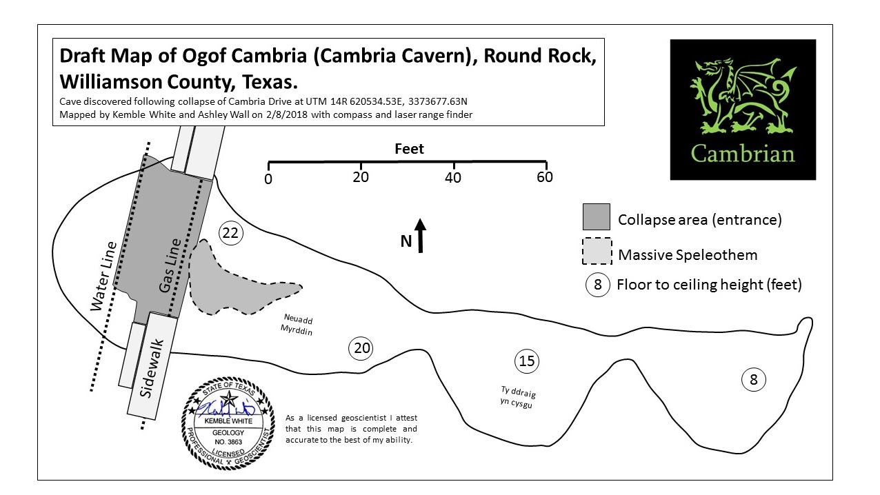 Draft map of Cambria Cavern. (Source: Cambrian Environmental)<p></p>