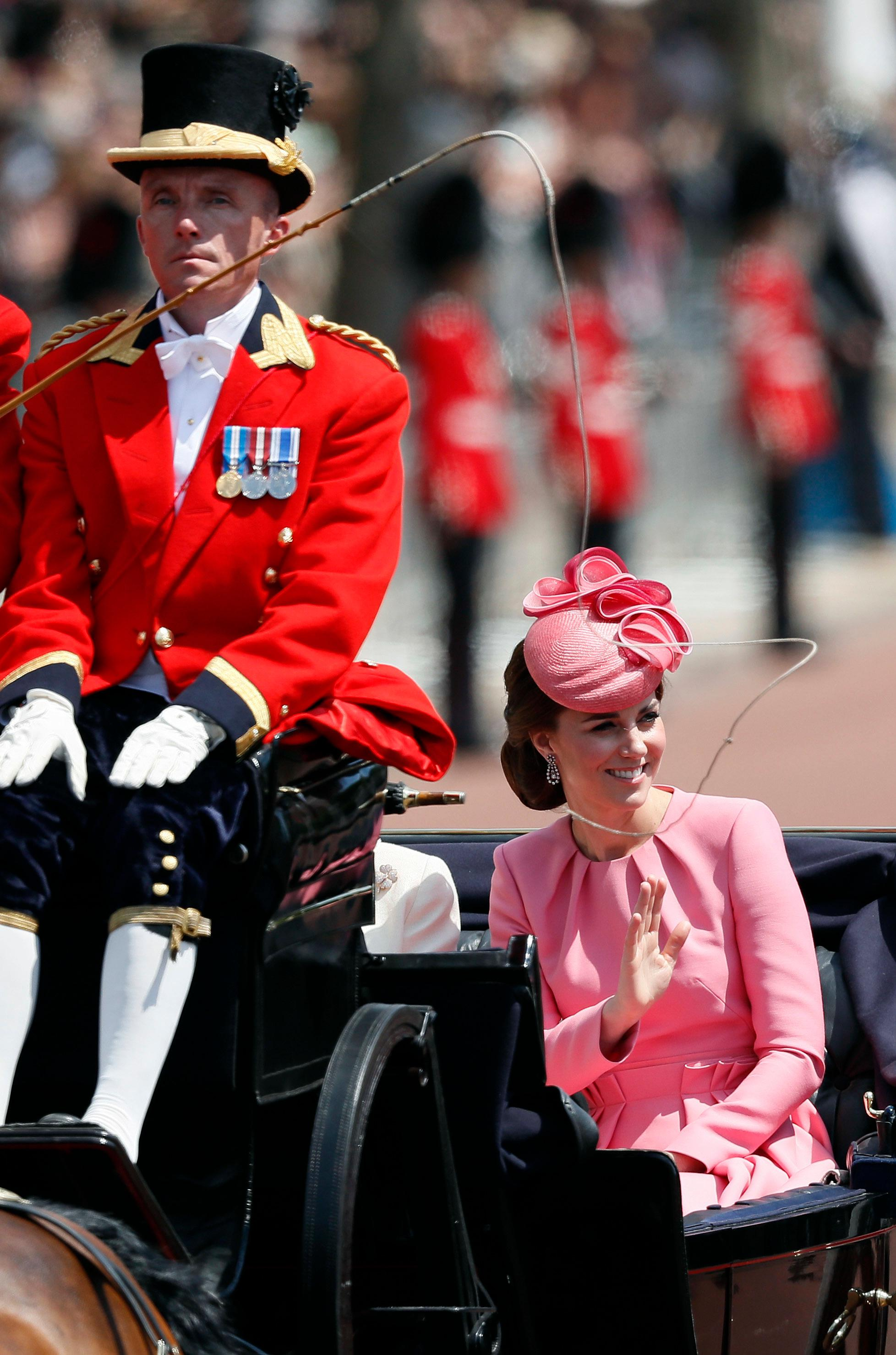 Britain's Kate, the Duchess of Cambridge returns to Buckingham Palace, after attending the annual Trooping the Colour Ceremony in London, Saturday, June 17, 2017. (AP Photo/Kirsty Wigglesworth)