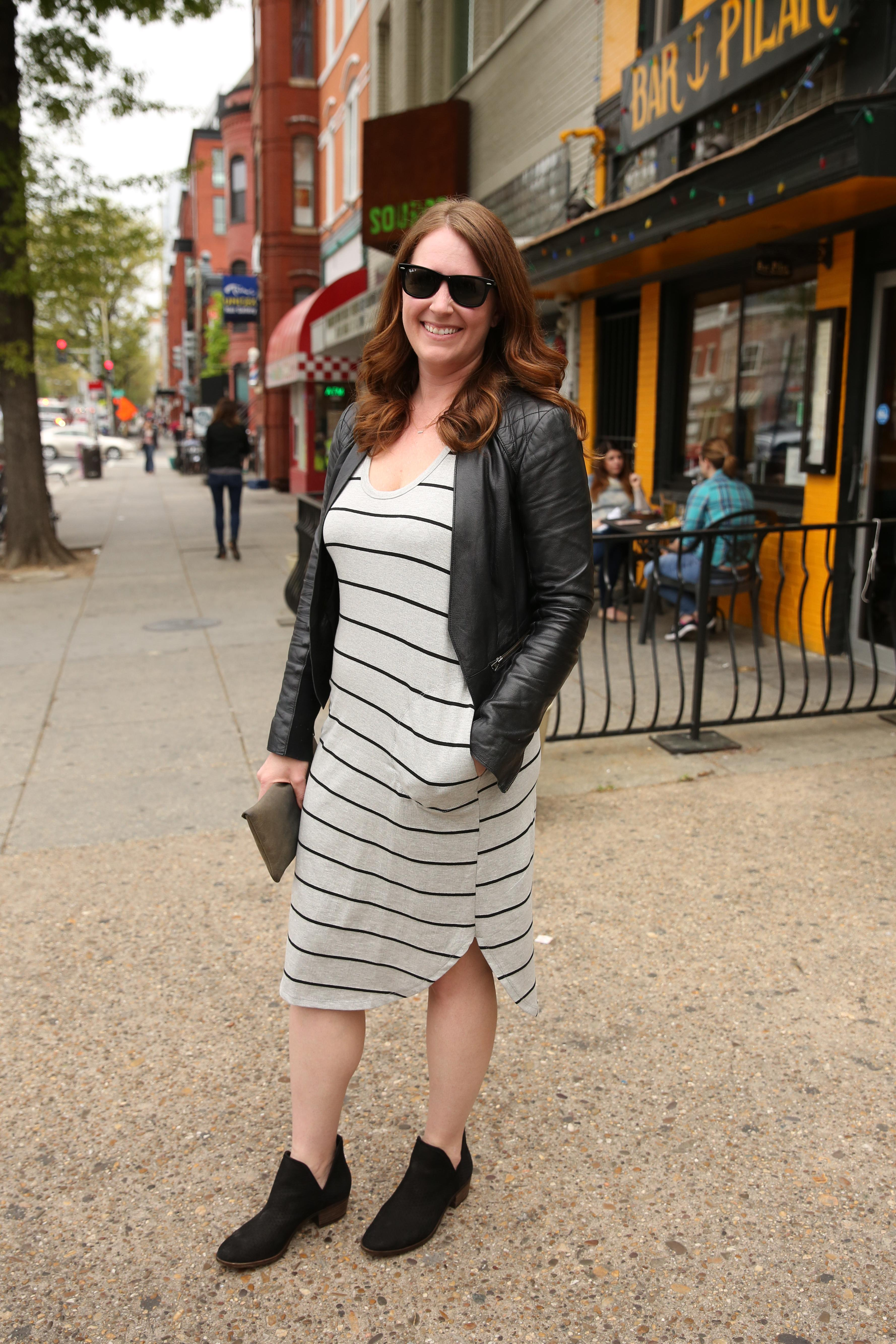 Embrace your booties with a striped dress like Lindsey Harrison. (Amanda Andrade-Rhoades/DC Refined)