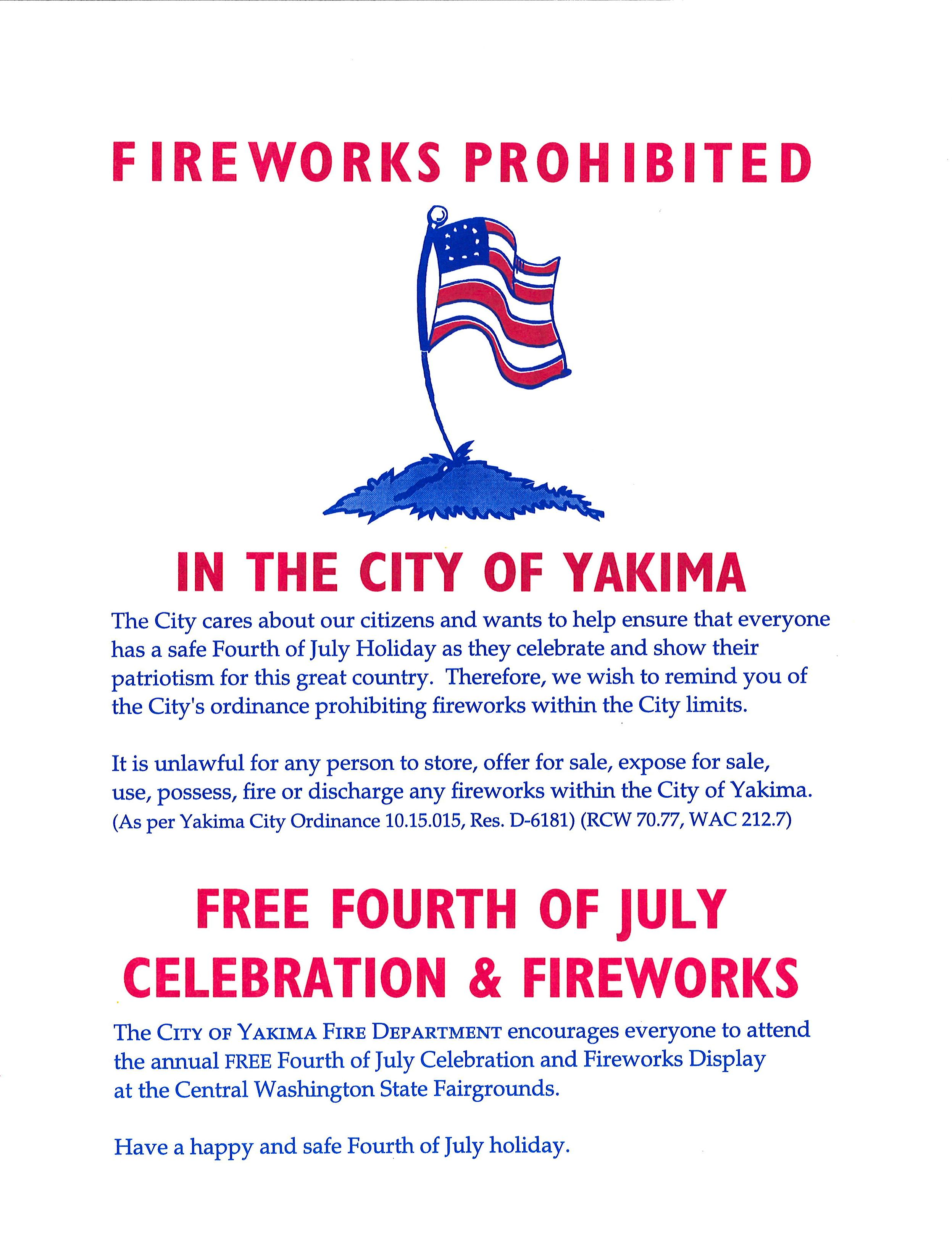 Fireworks prohibited in Yakima as summer approaches