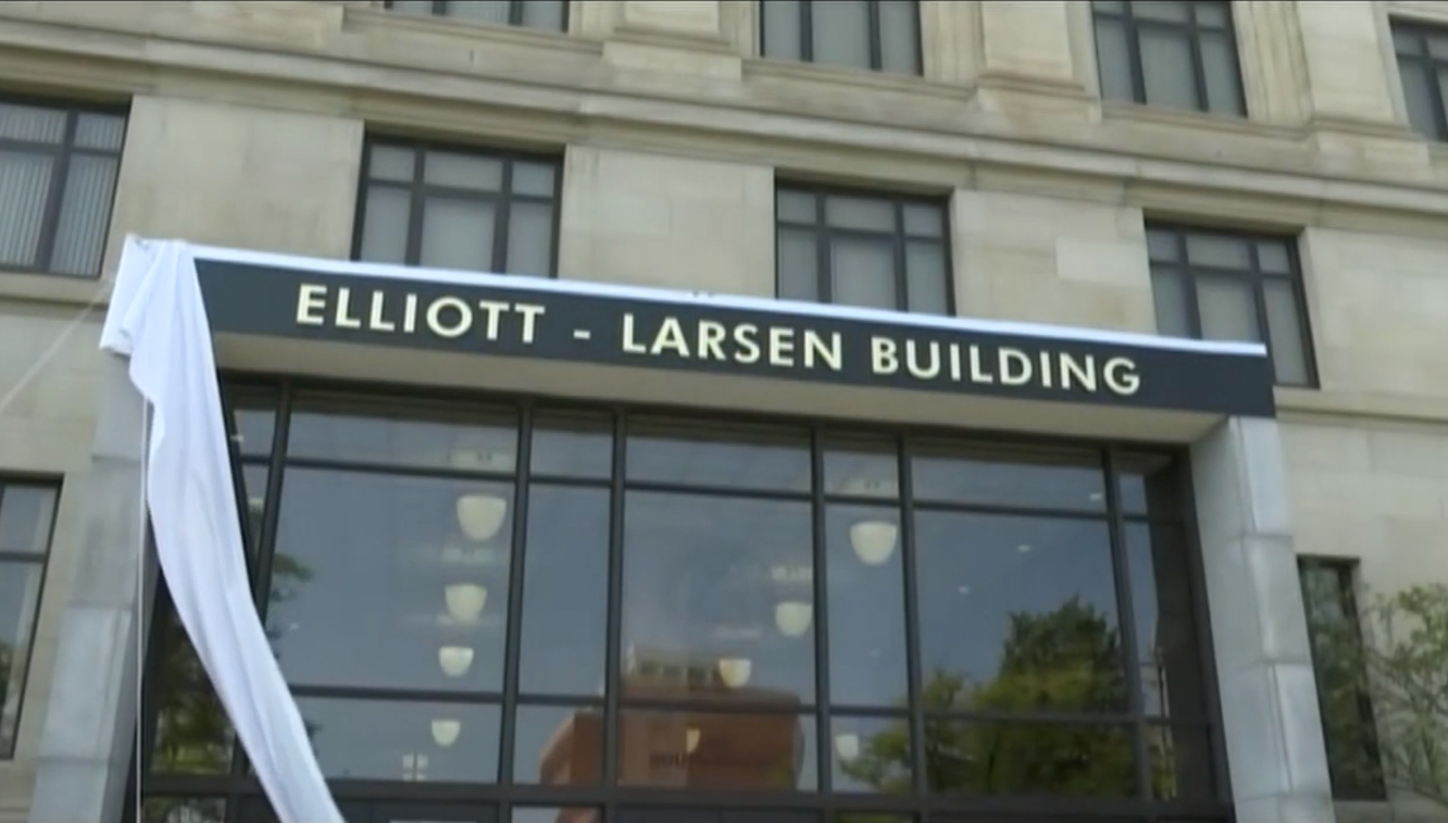 Elliot-Larsen building is the first state-owned building in Michigan to be named after a African-American woman. State leaders unveil the new sign Sept. 21, 2020. (WWMT)