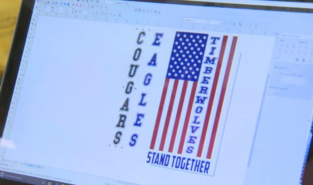 Terra Lovelace worked on designs to offer parents, after a recent controversy over t-shirts that resembled the Blue Lives Matter movement.