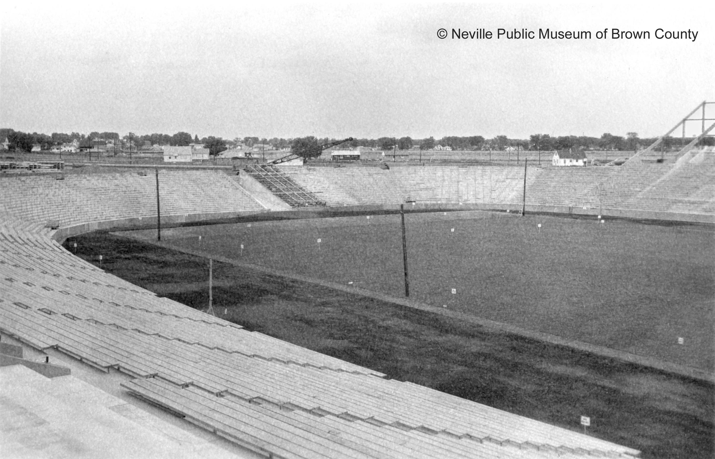 New City Stadium was built at the intersection of Ridge Road and Highland Avenue. Construction was done by Geo. M. Hougard & Sons, Inc. (Courtesy: Neville Public Museum of Brown County)