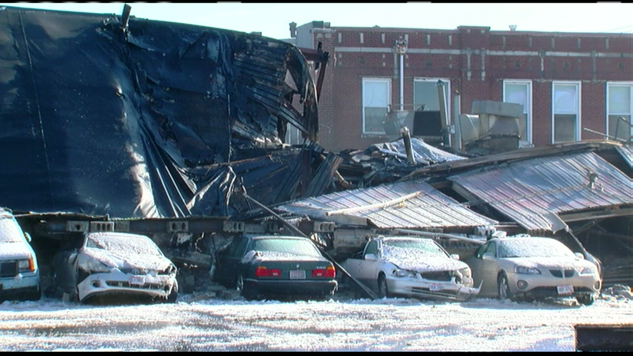 A fire destroyed an Evanston business on Friday morning. (WKRC)