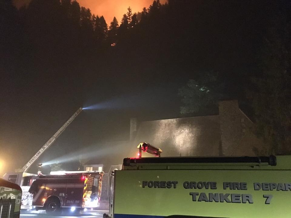 Forest Grove firefighters battle Eagle Creek Fire - Photo courtesy Forest Grove Fire