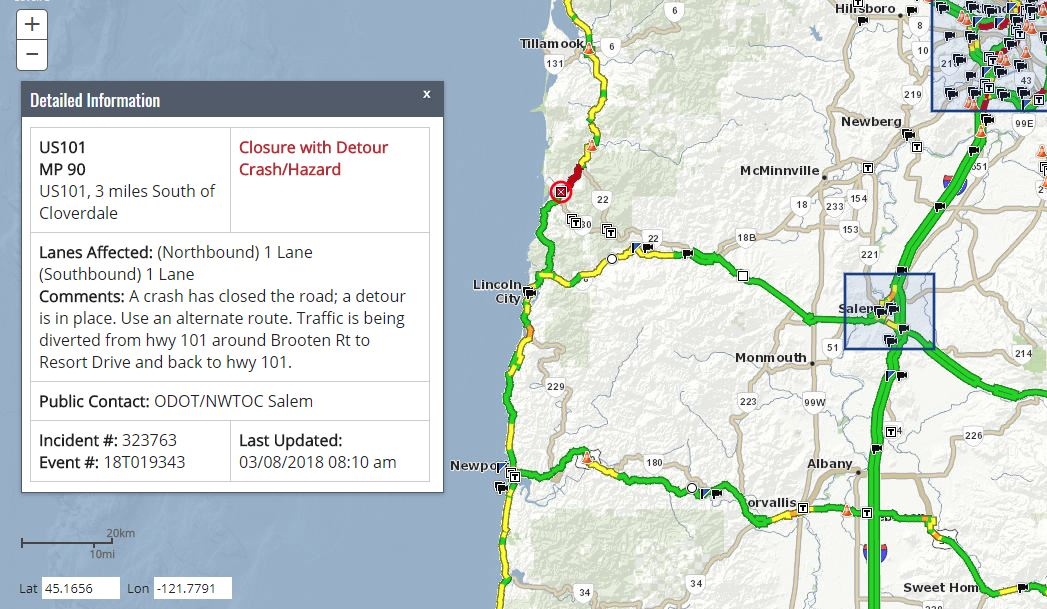 A multi-vehicle cash brought live powerlines down across Highway 101 between Lincoln City and Tillamook on Thursday morning, closing the coast highway, Oregon State Police said. (TripCheck)