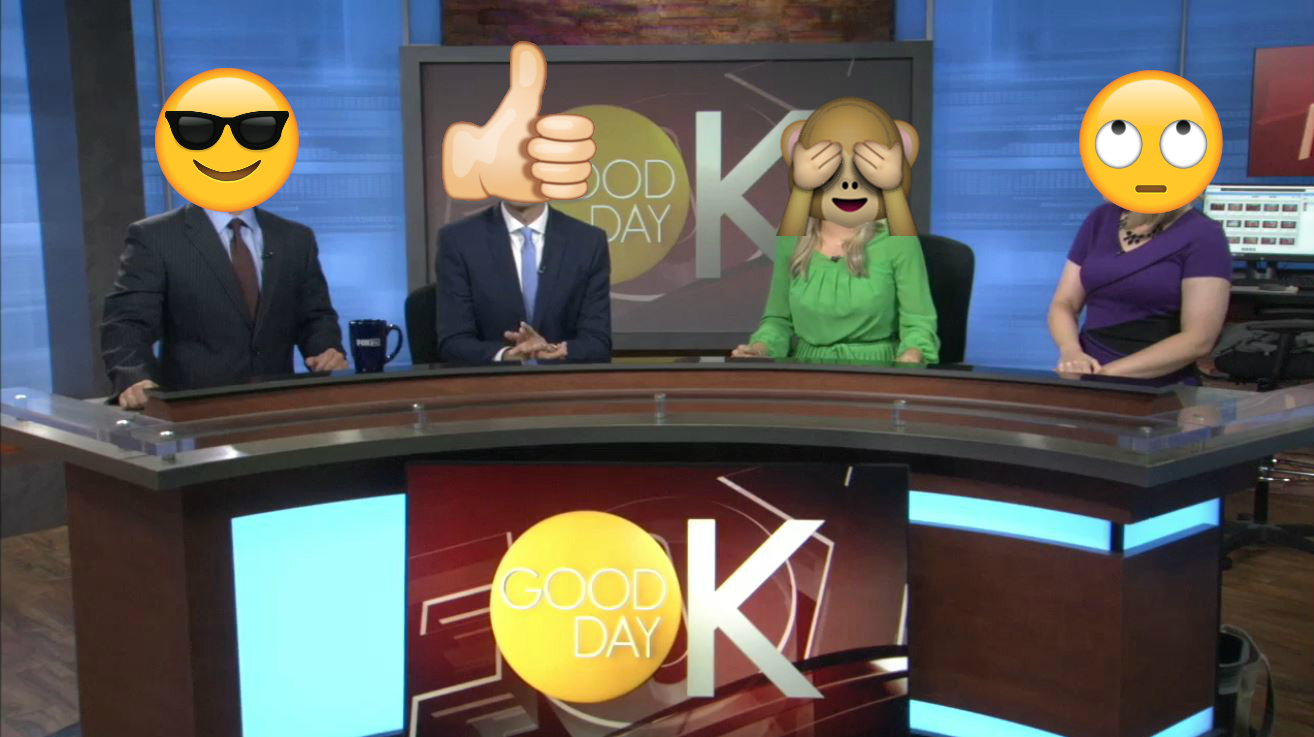 The Good Day OK morning team sports their favorite emojis! (left to right: Dan Snyder, Chris Stanford, Shelby Cashman, Marcy Novak)