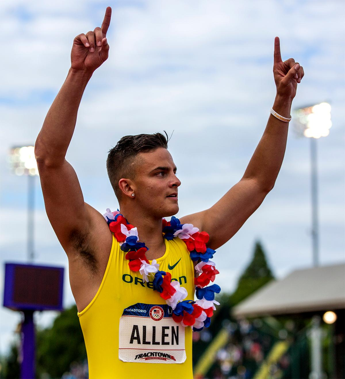 OregonÃ?s Devon Allen stormed to a victory in the 110 meter hurdles, taking the win in 13.03. Photo by August Frank, Oregon News Lab