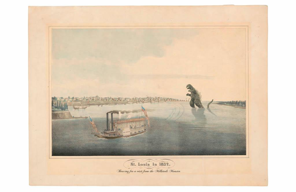 """A view of the quiet yet fast-growing St. Louis in 1832, drawn from an original painting by George Caitlin. The print is notable for Caitlin including a view of a local steamship, as well as incorporating a view of the Millstadt Monster, a giant creature from Southwest Illinois, crossing the river to feast in St. Louis's active livestock and butchering districts."" / Image courtesy of Matt Buchholz, Alternate Histories // Published: 6.19.19<br>"