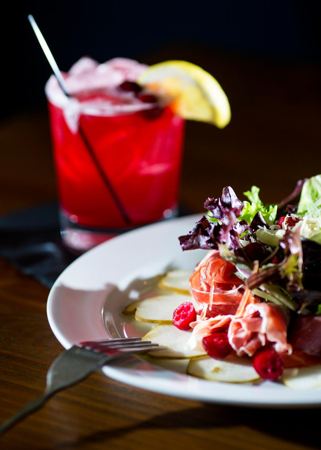 The shaved pear and proscuitto salad, consisting of Starvation Alley organic cranberries, parmesan, and balsalmic port, at the Salt Hotel and Pub, located at 147 Howerton Ave, Ilwaco, WA. (Sy Bean / Seattle Refined)