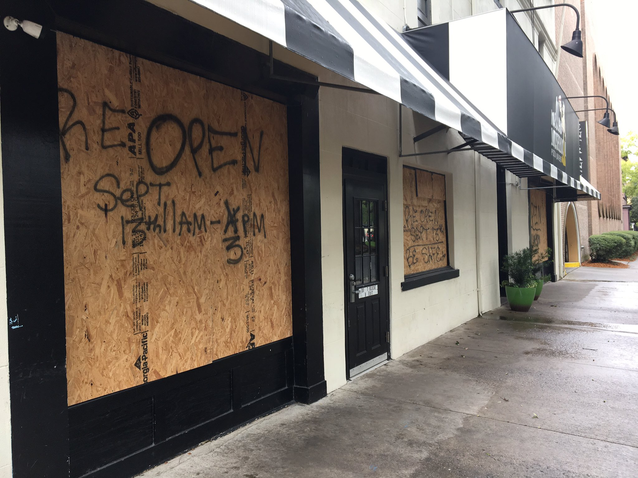 Businesses have boarded up in Downtown Savannah. (WTGS/Shelbey Roberts)