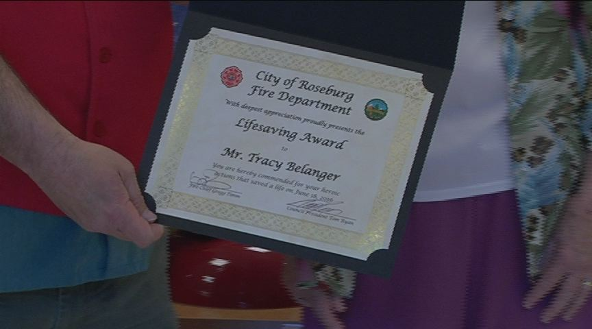 Tracy Belanger's heroic actions earned him the Lifesaver Award from the Roseburg Fire Department. (KPIC photo)