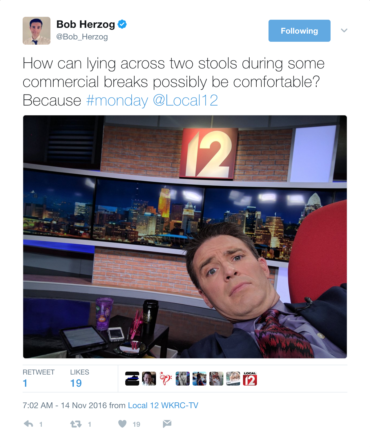 Yes, even the energetic, positive Bob Herzog can have a powerful case of the Mondays. Give him a follow: @Bob_Herzog / Image courtesy of @Bob_Herzog on Twitter // Published: 6.2.17
