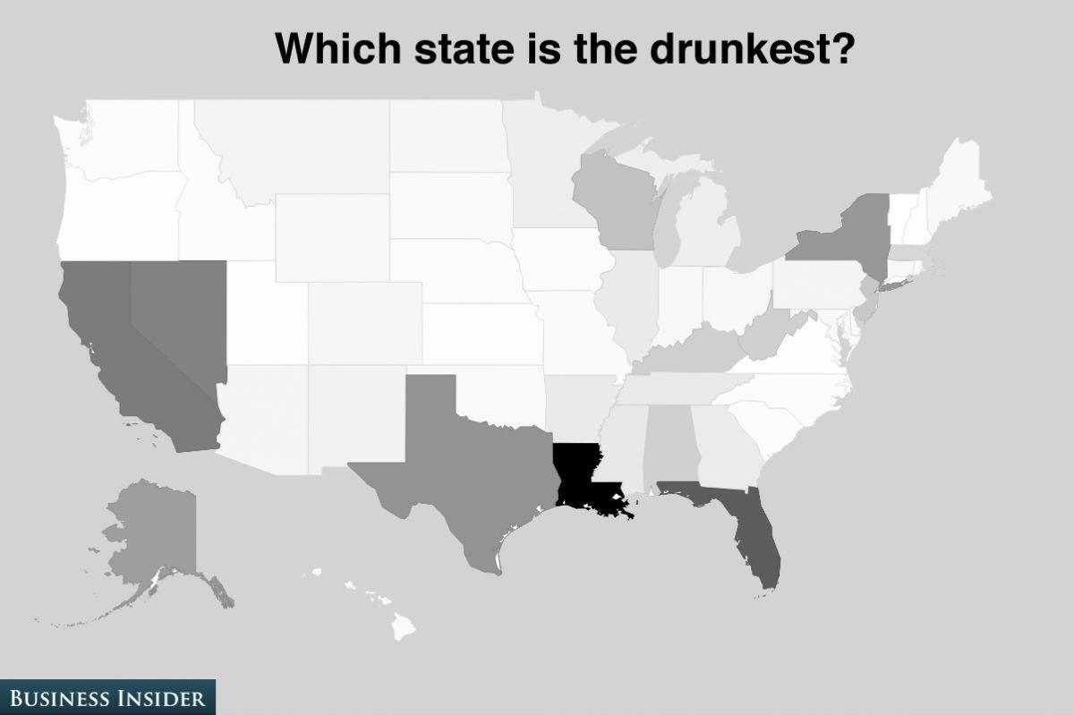 The poll shows that Louisiana is considered the drunkest state with 11% of the vote.