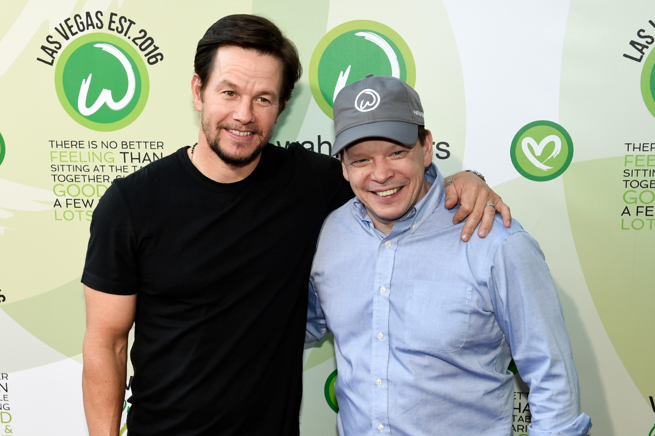 Actor Mark Wahlberg and brother executive chef Paul Wahlberg arrive at a VIP event at Wahlburgers Las Vegas in the Grand Bazaar Shops at Bally's Tuesday, March 28, 2017. [Sam Morris/Las Vegas News Bureau]