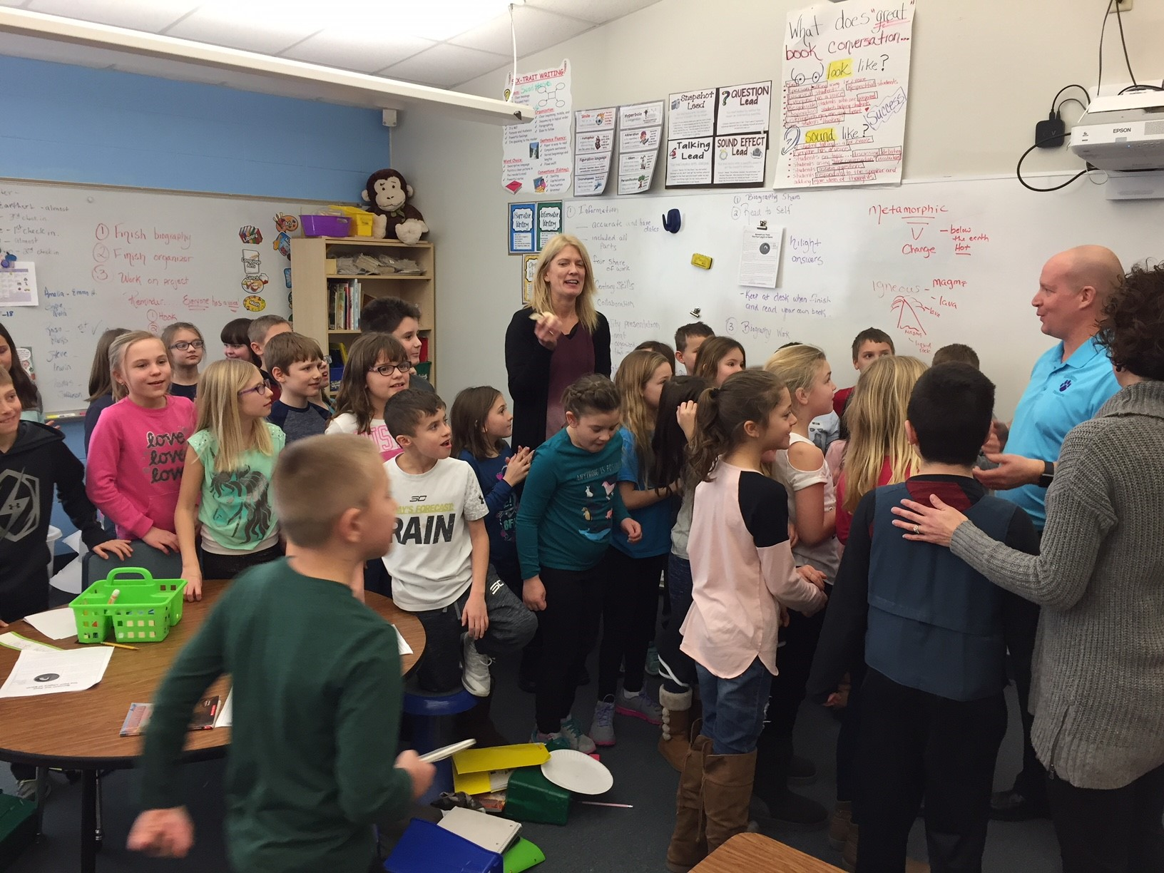 April White speaks to her third grade class at Suamico Elementary School Feb. 7, 2018, after being announced as a Golden Apple Award recipient. (WLUK/Donna Fischer)